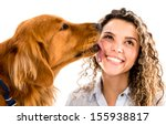 Cute Dog Licking Womans Face  ...
