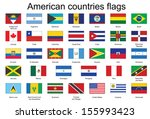 set of rectangle icons with flags of Americas