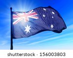 australia flag waving on the... | Shutterstock . vector #156003803