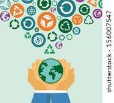 vector ecology concept   human... | Shutterstock .eps vector #156007547