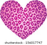 pink heart with leopard print... | Shutterstock .eps vector #156017747