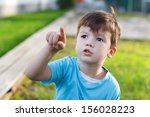 little boy pointing  showing ... | Shutterstock . vector #156028223