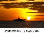 Silhouette Of Fishing Boat On...