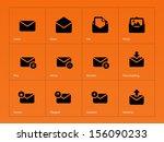mail icons on orange background....