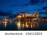oil rig at night in winter... | Shutterstock . vector #156112823