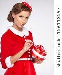 Vintage Girl Wearing Santa...