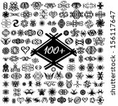 tattoos icons set isolated on a ... | Shutterstock .eps vector #156117647
