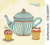 vintage background with cakes...   Shutterstock .eps vector #156160097