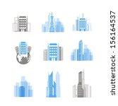 modern city silhouettes...   Shutterstock .eps vector #156164537