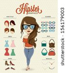 hipster girl character with... | Shutterstock .eps vector #156179003