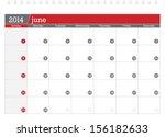 june 2014 planning calendar | Shutterstock .eps vector #156182633