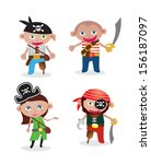 set of 4 unique pirate vectors... | Shutterstock .eps vector #156187097