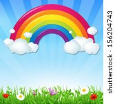 color rainbow with clouds grass ... | Shutterstock .eps vector #156204743