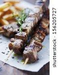 meat skewer  | Shutterstock . vector #156205727
