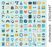 set of 100 vector social media... | Shutterstock .eps vector #156216467