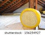a roll of insulating glass wool ... | Shutterstock . vector #156254927