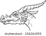 vector    dragon head  isolated ... | Shutterstock .eps vector #156261053