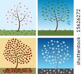 vector  seasonal trees for... | Shutterstock .eps vector #15626272