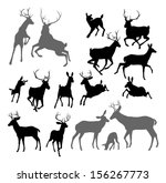 Silhouette Deer Including Fawn...