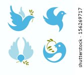 Set Of Vector Symbols Dove Of...