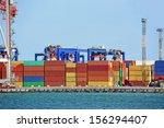 port cargo crane and container... | Shutterstock . vector #156294407