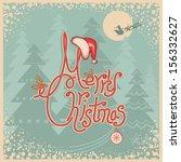 Retro Merry Christmas Card Wit...