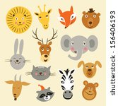 heads of cartoon animals ... | Shutterstock .eps vector #156406193