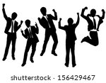 silhouettes of excited happy... | Shutterstock .eps vector #156429467