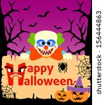halloween background card with... | Shutterstock .eps vector #156444863