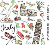 set of italy icons vector... | Shutterstock .eps vector #156458543