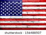 usa flag painted on old brick... | Shutterstock . vector #156488507