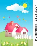 kids garden cartoon sky with... | Shutterstock .eps vector #156566087
