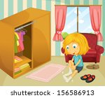 illustration of a girl wearing... | Shutterstock . vector #156586913