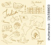 set of india icons doodle... | Shutterstock .eps vector #156588803