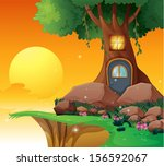 illustration of a tree house... | Shutterstock . vector #156592067