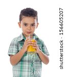 little boy drinking a glass of... | Shutterstock . vector #156605207