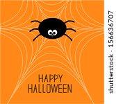 cute cartoon spider on the web. ... | Shutterstock . vector #156636707