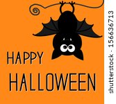 cute bat. happy halloween card. ... | Shutterstock . vector #156636713