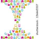 internet icons over white... | Shutterstock .eps vector #156665537