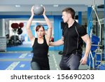 personal trainer helping young... | Shutterstock . vector #156690203