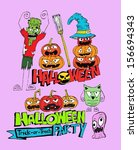happy halloween theme and... | Shutterstock .eps vector #156694343