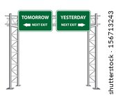 street sign point to tomorrow... | Shutterstock . vector #156713243
