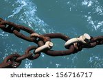rusty iron chain with three... | Shutterstock . vector #156716717