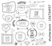vintage label set  hand drawn... | Shutterstock .eps vector #156734957