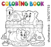 coloring book pig theme 3  ... | Shutterstock .eps vector #156737753
