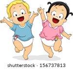 bebé,chico,dibujos animados,gente de dibujos animados,alegre,niños,galería de imágenes,imágenes prediseñadas,lindo,recortable,baile,pernos de pañal,pañales,hembra,diversión