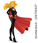 beautiful superwoman in a black ... | Shutterstock .eps vector #156745427