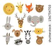 heads of cartoon animals ... | Shutterstock .eps vector #156754703