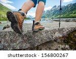 Hiking Boot Closeup On Mountai...