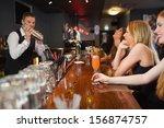 handsome bartender making... | Shutterstock . vector #156874757